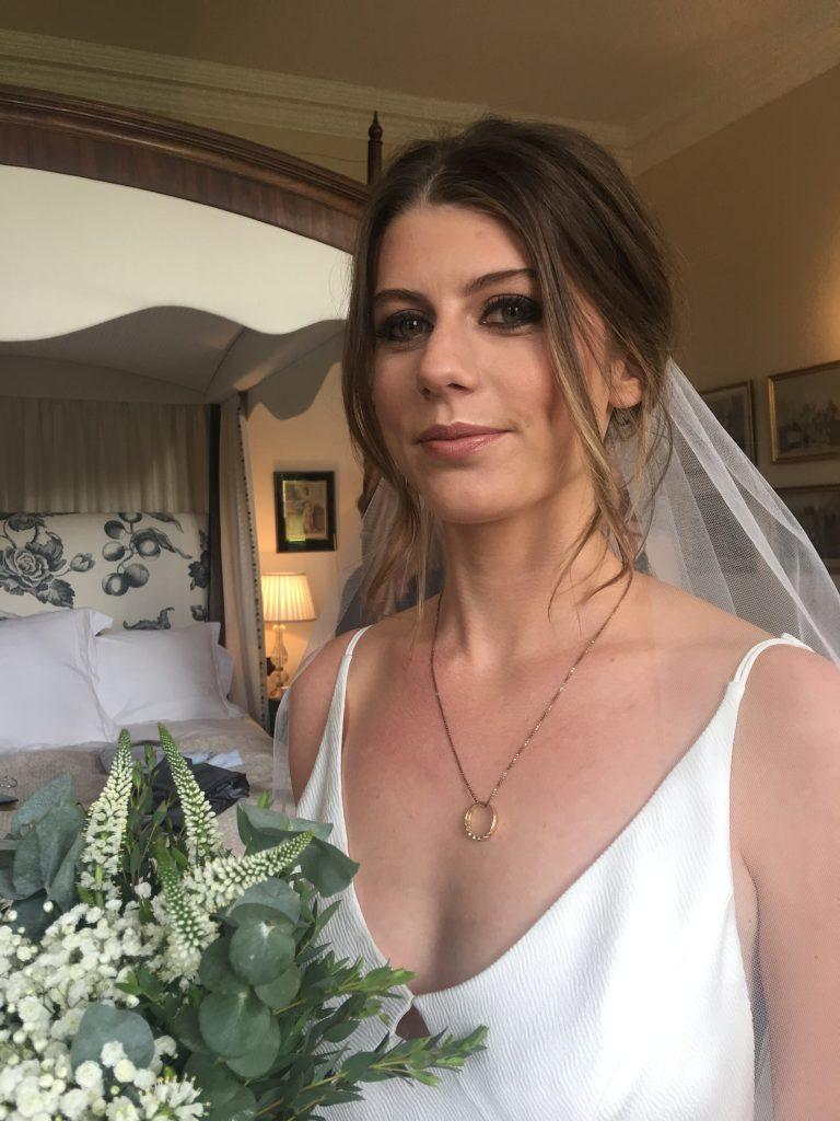 Neutral toned bridal makeup Iscoyd Park Shropshire