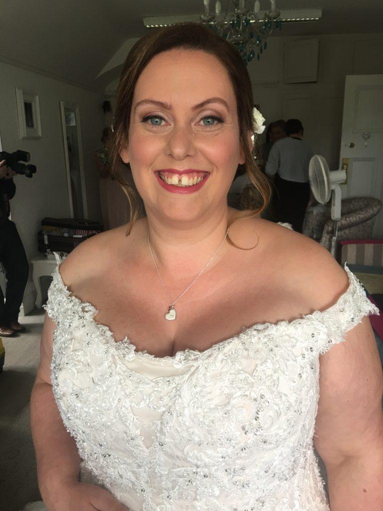 Bright lip natural bridal makeup
